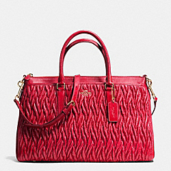 MORGAN SATCHEL IN PATCHWORK LEATHER - f37083 - IMITATION GOLD/CLASSIC RED