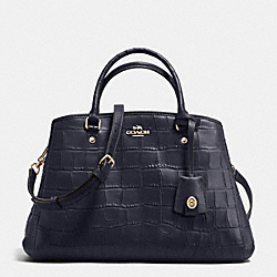 COACH F37097 Small Margot Carryall In Croc Embossed Leather IMITATION GOLD/MIDNIGHT