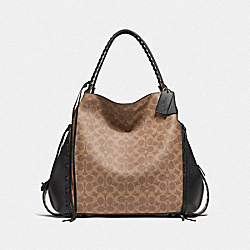 COACH F37123 Edie Shoulder Bag 42 In Signature Canvas With Whipstitch BP/TAN BLACK