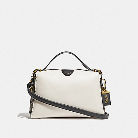 COACH F37126 LAURAL FRAME BAG IN COLROBLOCK WITH SNAKESKIN DETAIL B4/CHALK-MULTI