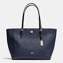 COACH F37142 Turnlock Tote In Crossgrain Leather LIGHT GOLD/NAVY