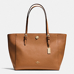 TURNLOCK TOTE IN CROSSGRAIN LEATHER - f37142 - LIGHT GOLD/SADDLE