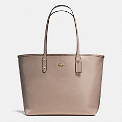 COACH F37151 - CITY TOTE IN CROSSGRAIN LEATHER WITH COATED CANVAS BOTTOM LIGHT GOLD/STONE