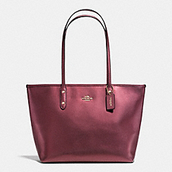 COACH F37153 - ZIP TOTE IN METALLIC CROSSGRAIN LEATHER IMITATION GOLD/METALLIC CHERRY
