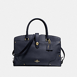 COACH F37167 Mercer Satchel In Grain Leather LIGHT GOLD/NAVY