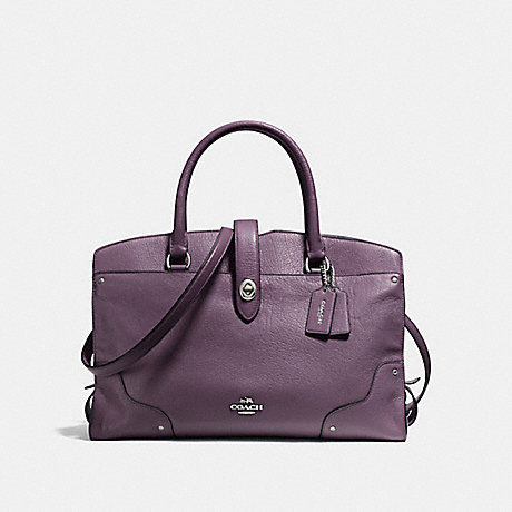 Coach F37167 Mercer Satchel In Grain Leather Silver Eggplant
