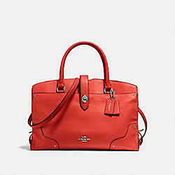 COACH F37167 Mercer Satchel In Grain Leather SILVER/CARMINE
