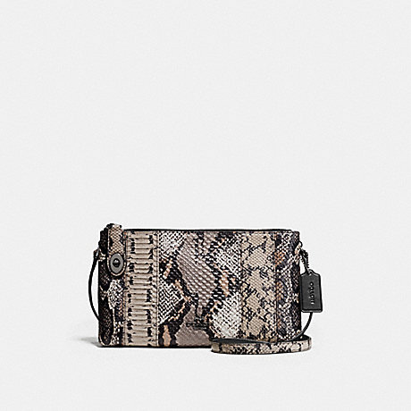 COACH F37172 CROSBY CROSSBODY IN PIECED EXOTIC EMBOSSED LEATHER DARK-GUNMETAL/FOG-MULTI