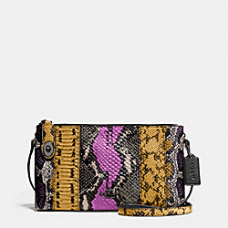 CROSBY CROSSBODY IN PIECED EXOTIC EMBOSSED LEATHER - f37172 - DARK GUNMETAL/WILDFLOWER MULTI