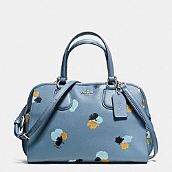 NOLITA SATCHEL IN FLORAL PRINT PEBBLE LEATHER - f37176 - SILVER/CORNFLOWER/FIELD FLORA