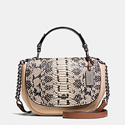 COACH NOMAD TOP HANDLE CROSSBODY IN COLORBLOCK EXOTIC EMBOSSED GLOVETANNED LEATHER - f37181 - DARK GUNMETAL/BEECHWOOD