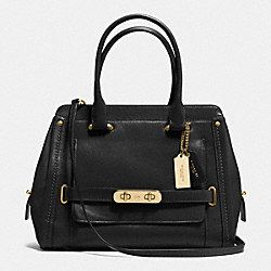 COACH F37182 Coach Swagger Frame Satchel In Calf Leather LIGHT GOLD/BLACK