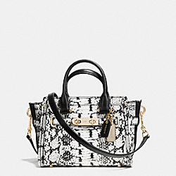 COACH SWAGGER 20 IN COLORBLOCK EXOTIC EMBOSSED LEATHER - f37187 - LIGHT GOLD/BLACK