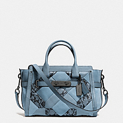 COACH SWAGGER 27 IN PATCHWORK EXOTIC EMBOSSED LEATHER - f37188 - DARK GUNMETAL/CORNFLOWER