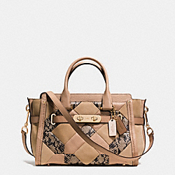 COACH SWAGGER 27 IN PATCHWORK EXOTIC EMBOSSED LEATHER - f37188 - LIGHT GOLD/BEECHWOOD