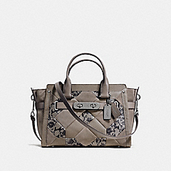 COACH SWAGGER IN PATCHWORK EXOTIC EMBOSSED LEATHER - f37190 - DARK GUNMETAL/FOG