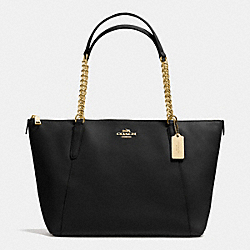 COACH F37201 - AVA CHAIN TOTE IN CROSSGRAIN LEATHER IMITATION GOLD/BLACK
