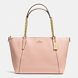 AVA CHAIN TOTE IN CROSSGRAIN LEATHER - f37201 - IMITATION GOLD/PEACH ROSE