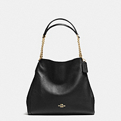 COACH F37202 Phoebe Chain Shoulder Bag In Pebble Leather IMITATION GOLD/BLACK
