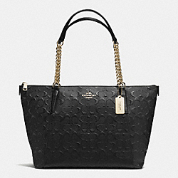 COACH F37204 - AVA CHAIN TOTE IN DEBOSSED SIGNATURE LEATHER IMITATION GOLD/BLACK