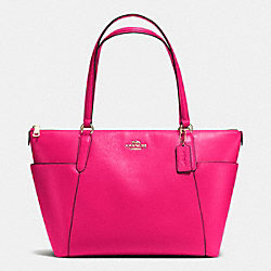 AVA TOTE IN PEBBLE LEATHER - f37216 - IMITATION GOLD/PINK RUBY