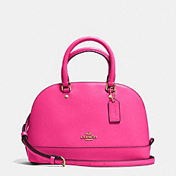 MINI SIERRA SATCHEL IN CROSSGRAIN LEATHER - f37217 - IMITATION GOLD/PINK RUBY