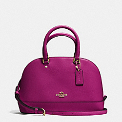 COACH F37217 Mini Sierra Satchel In Crossgrain Leather IMITATION GOLD/FUCHSIA