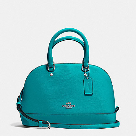 COACH f37217 MINI SIERRA SATCHEL IN CROSSGRAIN LEATHER SILVER/TURQUOISE