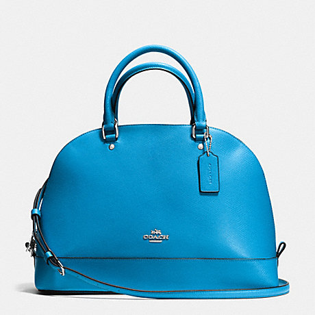 COACH f37218 SIERRA SATCHEL IN CROSSGRAIN LEATHER SILVER/AZURE