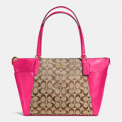 AVA TOTE IN SIGNATURE - f37231 - IMITATION GOLD/KHAKI/PINK RUBY