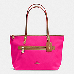COACH F37237 Sawyer Tote In Polyester Twill IMITATION GOLD/PINK RUBY