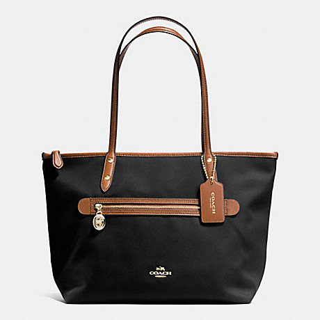 COACH f37237 SAWYER TOTE IN POLYESTER TWILL IMITATION GOLD/BLACK