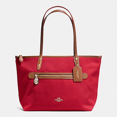 COACH f37237 SAWYER TOTE IN POLYESTER TWILL IMITATION GOLD/CLASSIC RED