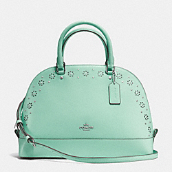 COACH F37238 Border Stud Sierra Satchel In Crossgrain Leather SILVER/SEAGLASS