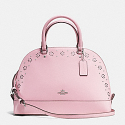 BORDER STUD SIERRA SATCHEL IN CROSSGRAIN LEATHER - f37238 - SILVER/PETAL
