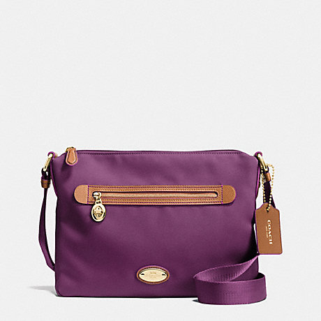 COACH F37239 SAWYER CROSSBODY IN POLYESTER TWILL IMITATION-GOLD/PLUM