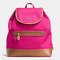 COACH F37240 Sawyer Backpack In Canvas IMITATION GOLD/PINK RUBY