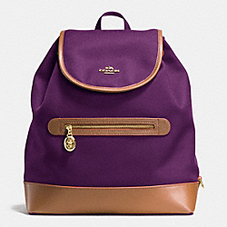 COACH F37240 Sawyer Backpack In Canvas IMITATION GOLD/PLUM
