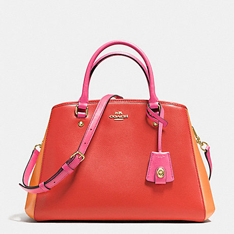 COACH f37248 SMALL MARGOT CARRYALL IN COLORBLOCK LEATHER IMITATION GOLD/CARMINE MULTI
