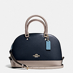 COACH F37249 Mini Sierra Satchel In Colorblock Leather IMITATION GOLD/NAVY/GREY BIRCH