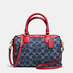 COACH F37251 Mini Bennett Satchel In Denim Jacquard IMITATION GOLD/DENIM/CLASSIC RED