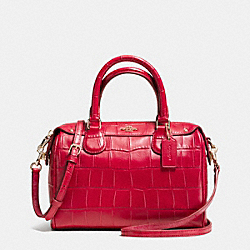 COACH F37259 Mini Bennett Satchel In Croc Embossed Leather IMITATION GOLD/CLASSIC RED