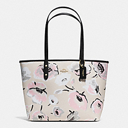 CITY ZIP TOTE IN WILDFLOWER PRINT COATED CANVAS - f37266 - IMITATION GOLD/CHALK MULTI