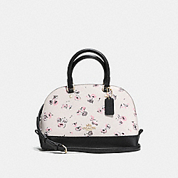 MINI SIERRA SATCHEL WITH SMALL WILDFLOWER PRINT - f37269 - LIGHT GOLD/CHALK MULTI
