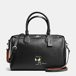 COACH F37271 - COACH X PEANUTS BENNETT SATCHEL IN CALF LEATHER SILVER/BLACK