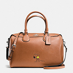 COACH F37271 Coach X Peanuts Bennett Satchel In Calf Leather SILVER/SADDLE