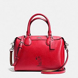 COACH F37272 - COACH X PEANUTS MINI BENNETT SATCHEL IN CALF LEATHER SILVER/CLASSIC RED