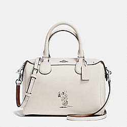 COACH COACH X PEANUTS MINI BENNETT SATCHEL IN CALF LEATHER - SILVER/CHALK - F37272