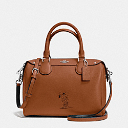 COACH COACH X PEANUTS MINI BENNETT SATCHEL IN CALF LEATHER - SILVER/SADDLE - F37272