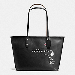 COACH F37273 - COACH X PEANUTS CITY ZIP TOTE IN CALF LEATHER SILVER/BLACK